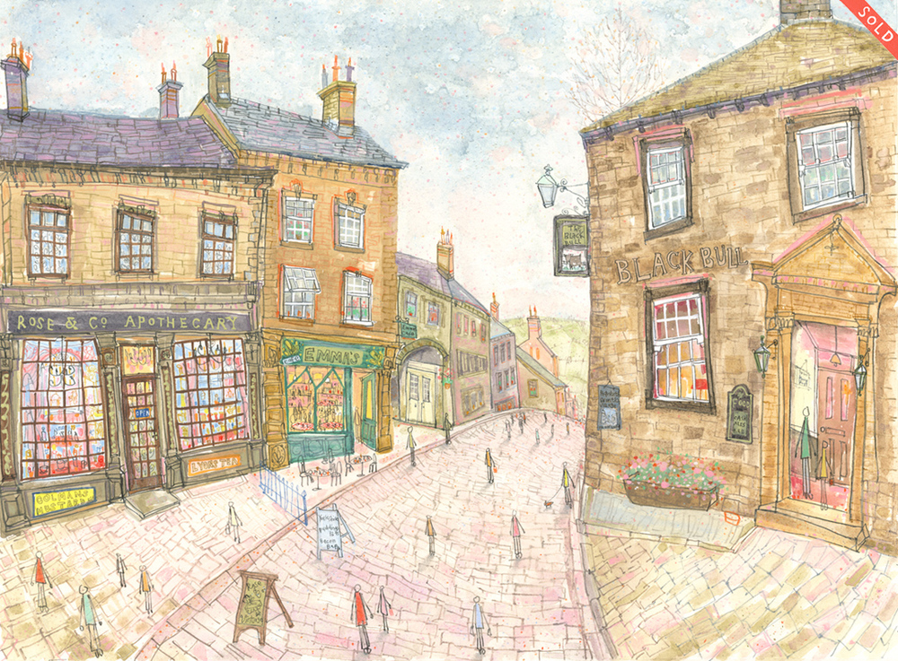 'Top of Main Street Haworth'        WATERCOLOUR & PENCIL         Image size 47 x 34 cm     Framed size   63 x 50  cm      £645  framed in oak    * SOLD *