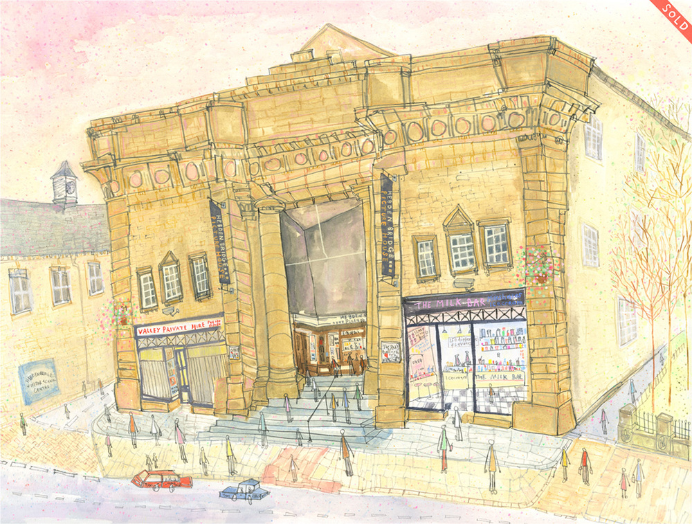 'The Picture House Hebden Bridge'           MIXED-MEDIA            Image size 48 x 36 cm        Framed size   65 x 52  cm         £595  framed in oak    * SOLD *