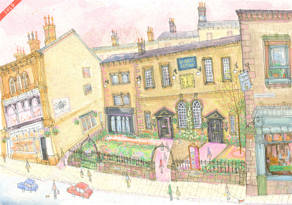 'Heart Gallery, Hebden Bridge'            MIXED-MEDIA              Image size 52 x 36 cm           Framed size   68 x 53  cm             £550    framed in oak  * SOLD *