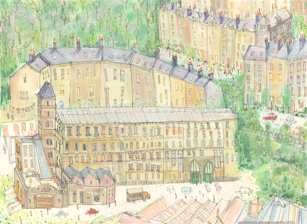 'Hills, Mills and Houses I     Hebden Bridge'        WATERCOLOUR & PENCIL         Image size 30 x 22 cm     Framed size   48 x 40  cm      £320    framed in oak
