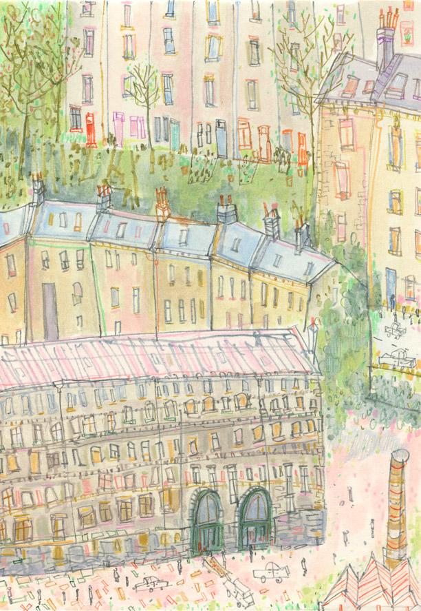 'Hebden Houses'     WATERCOLOUR & PENCIL      * SOLD *
