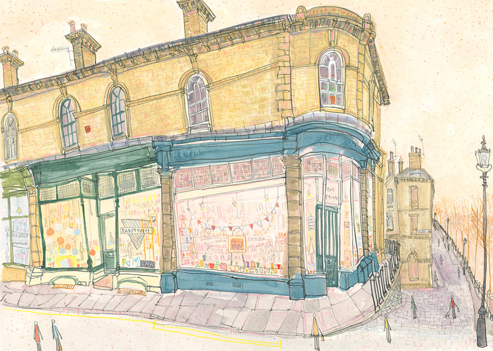 'Shops on Victoria Road Saltaire    '            WATERCOLOUR & PENCIL            Image size  42 x 30 cm        Framed size  58 x 46 cm