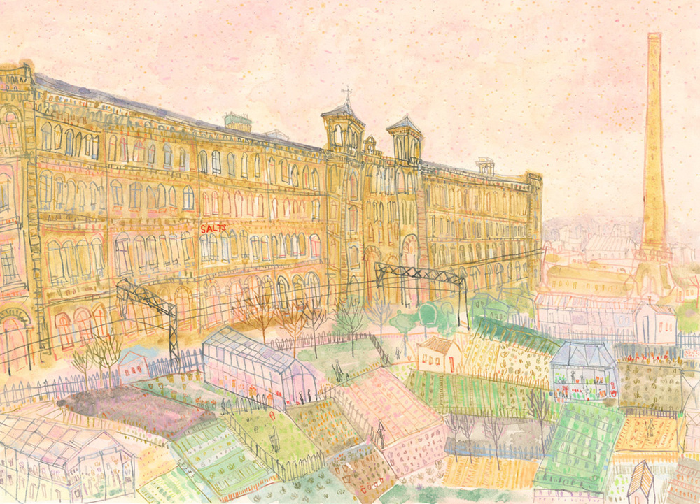 'Salts Mill and Allotments, Saltaire    '            WATERCOLOUR & PENCIL            Image size  42 x 30 cm        Framed size  58 x 46 cm          £450    framed in oak