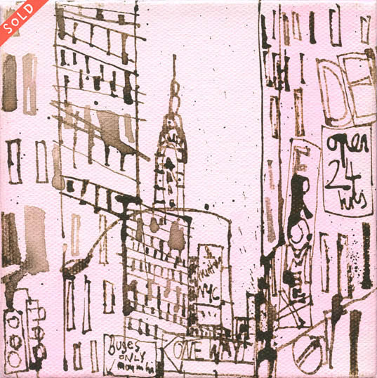 'Pink New York Block Mini '          DIP PEN & INK DRAWING / ACRYLIC ON CANVAS             Image size 12.5 x 12.5 cm,  canvas depth 4cm                                                                (The drawing continues around onto all sides of the canvas)            £95
