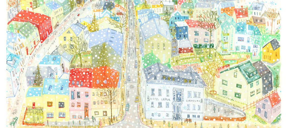 'Snowing Over Reykjavik Rooftops'  Giclee print  43.6 x 20.3 cm Edition size 195  £120