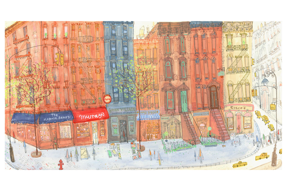 'Greenwich Village Shops New York  '  Giclee print 51 x 27.5 cm Edition size 195     £140