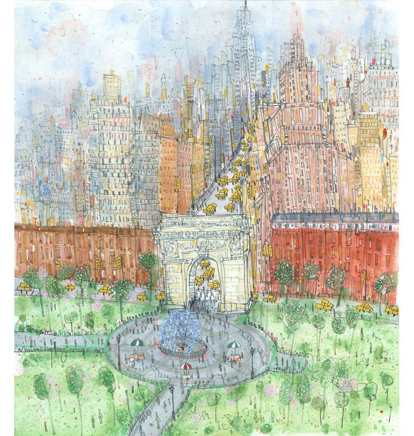 'Washington Square New York'  Giclee print 36.5 x 41 cm Edition size 195  £155