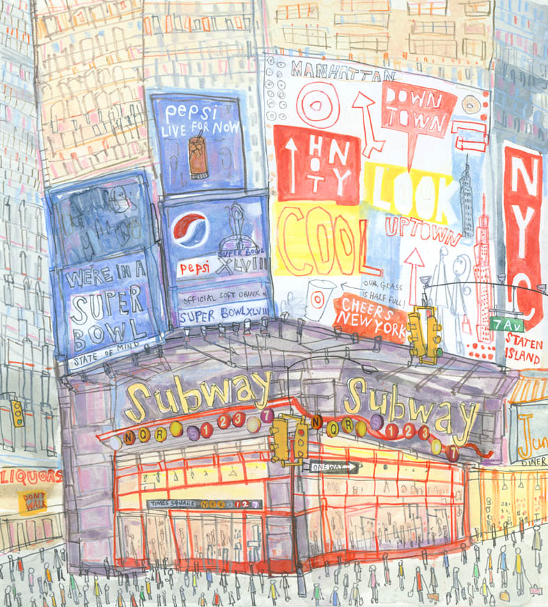 Times Square Subway Station New York    watercolour, pencil & collage   £475     Framed size 42 x 45 cm   Image size 26 x 29.5 cm