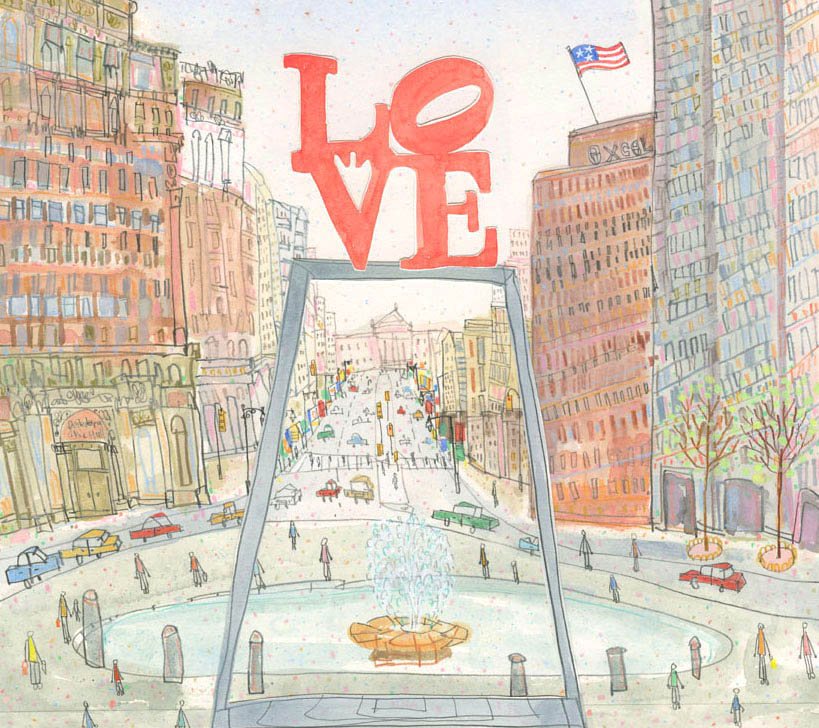 LOVE Park Philadelphia   watercolour, pencil and Collage      Framed size 45 x 42 cm   Image size 29 x 25.5 cm     £475
