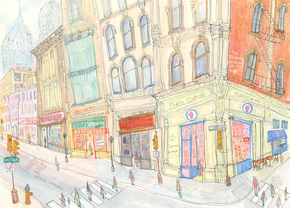 Philly Cupcakes, Chestnut Street Philadelphia   watercolour & pencil      Framed size 63.5 x 50 cm     Image size 47 x 34 cm     £575