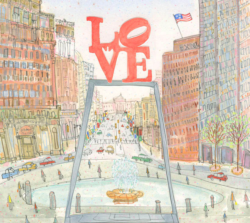 LOVE Park Philadelphia     watercolour, pencil & collage     £475 framed in oak