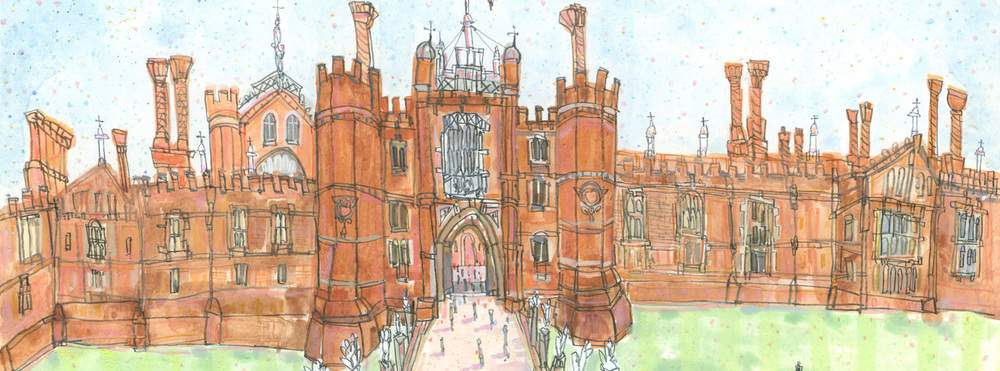 Hampton Court Palace   watercolour & pencil       New original painting depicting the beautiful venue of 'The Handmade Fair'