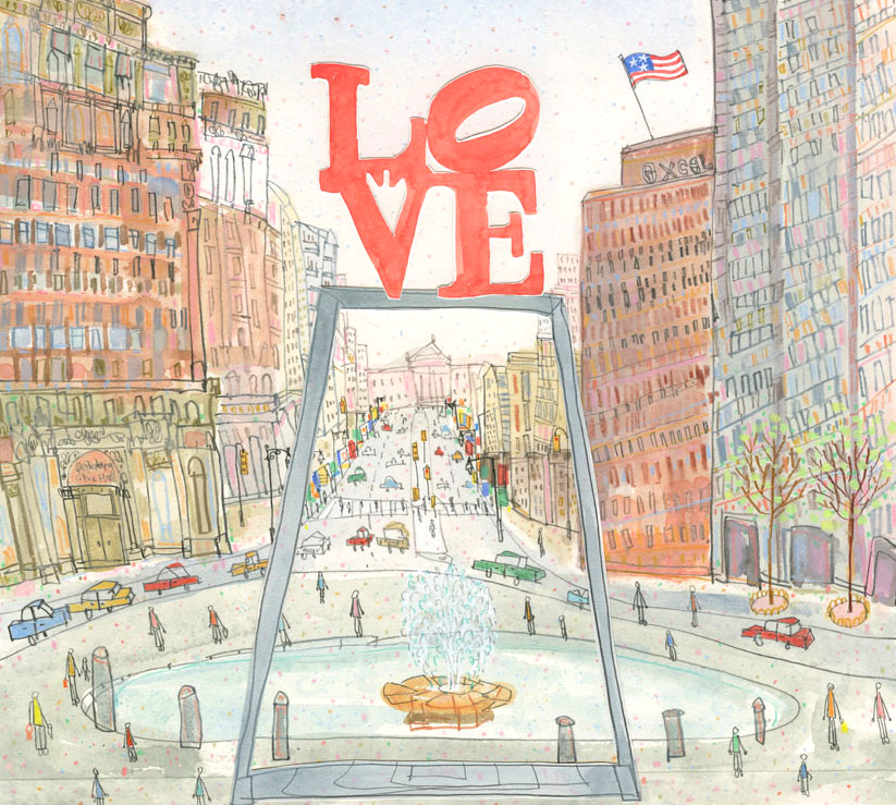 'Love Park Philadelphia'           WATERCOLOUR, PENCIL & COLLAGE              Image size 29 x 25.5 cm          S O L D