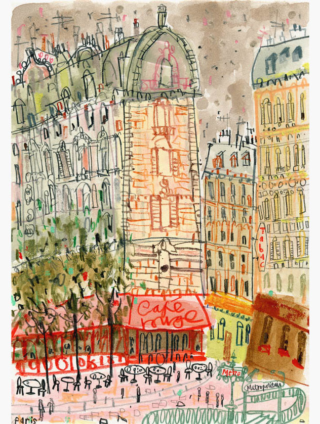 'Cafe Rouge   Paris'  Giclee print 28.5 x 40.5 cm Edition size 195   £140