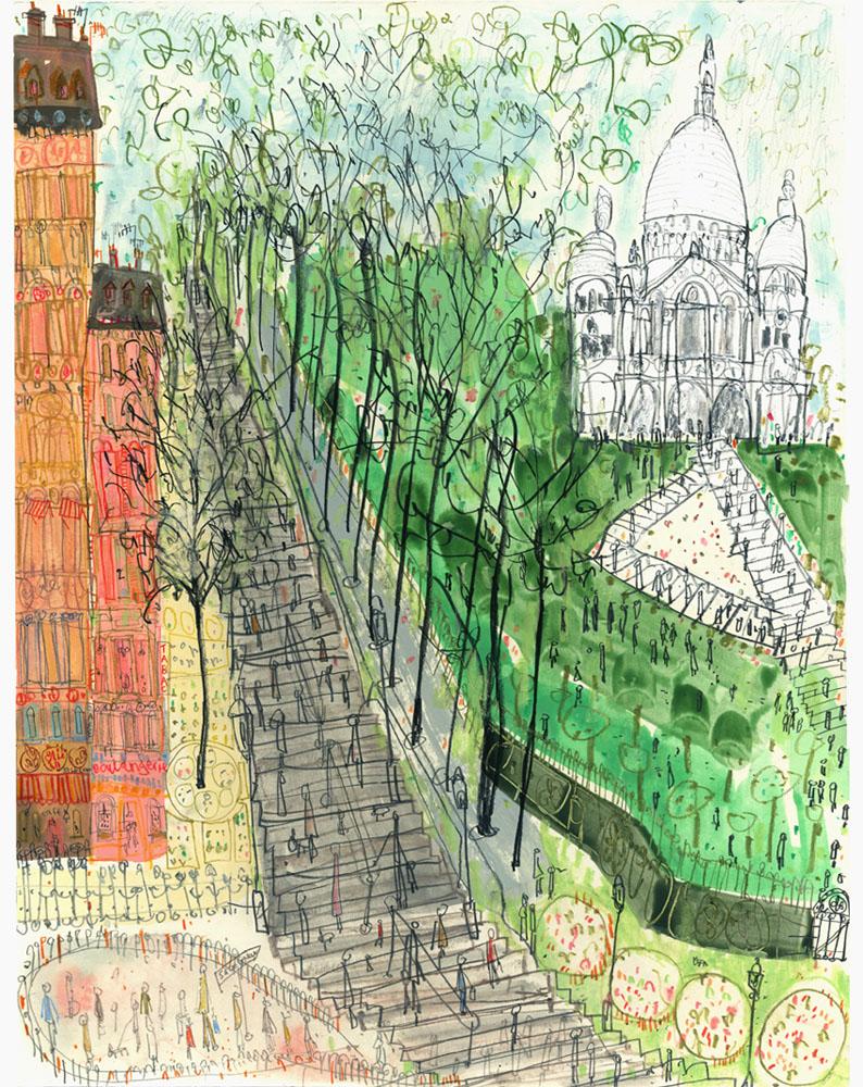 'Steps to Sacre Coeur Paris'  Giclee print 30 x 37.5 cm Edition size 195   £145