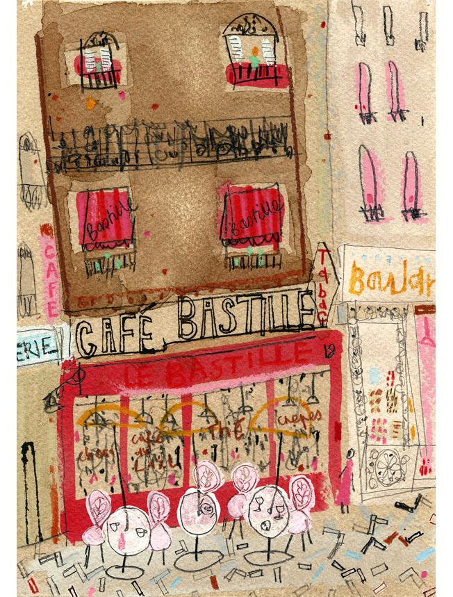 'Cafe Bastille Paris'  Giclee print 29.5 x 42 cm Edition size 195  £140
