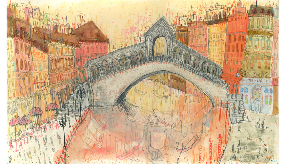 'The Rialto Bridge Venice'  Giclee print Image size 48 x 32 cm Edition size 195 £165