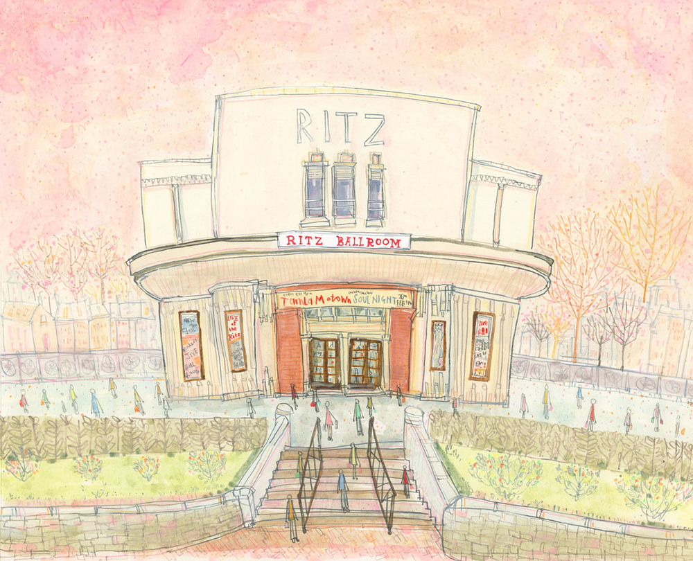 'The Ritz Ballroom Brighouse, West Yorkshire'       watercolour & pencil