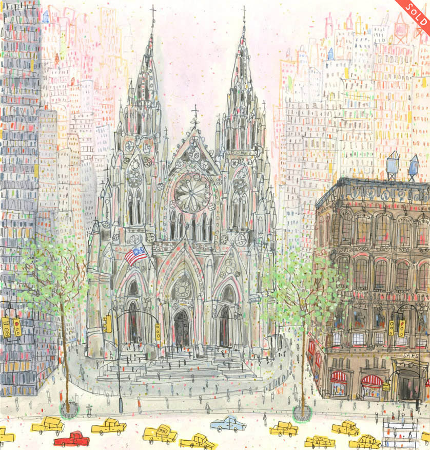 'St. Patrick's Cathedral New York '          WATERCOLOUR & PENCIL              Image size  29 x 31 cm