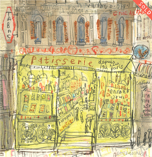 'Patisserie Paris'      original mixed-media    Image size 13 x 13 cm   S O L D