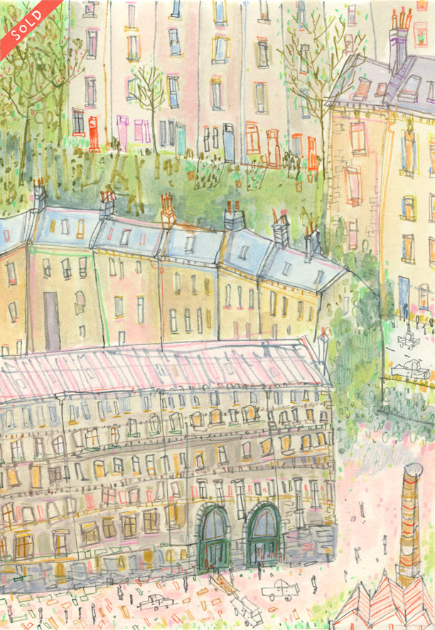 'Hebden Houses' WATERCOLOUR & PENCIL Image size 16 x 22.5 cm    S O L D