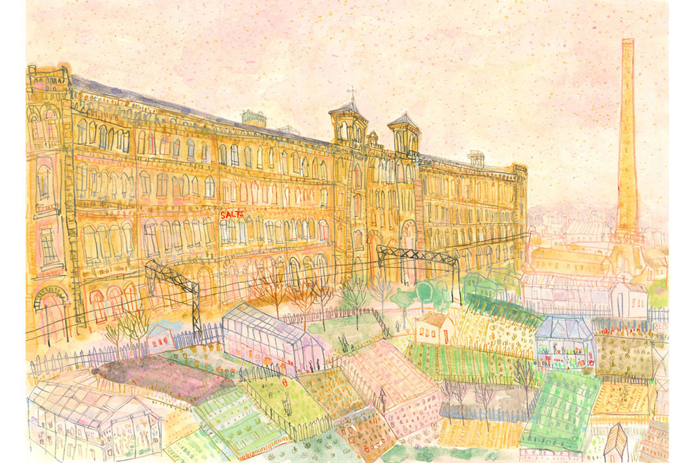 'Salts Mill & Allotments, Saltaire'  Giclee print   41 x 28 cm Edition size 195    £140