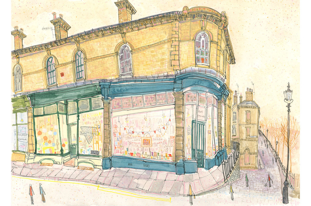 'Art Parade Victoria Road Saltaire'  Giclee print  41 x 29 cm Edition size 195  £140