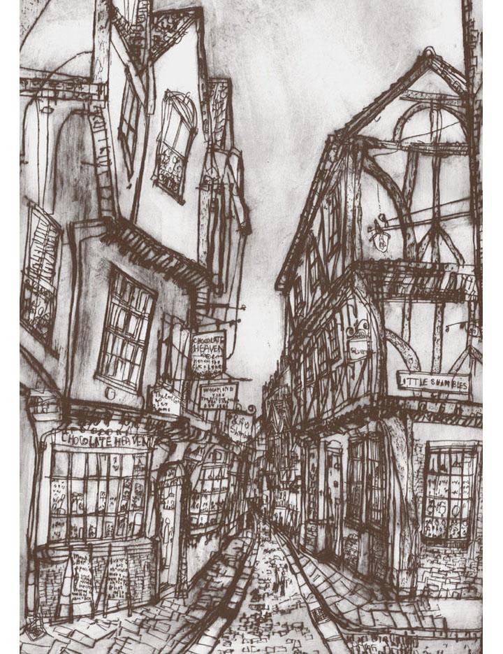 The Shambles York  Giclee print Image size 29 x 41 cm Edition size 195  £140