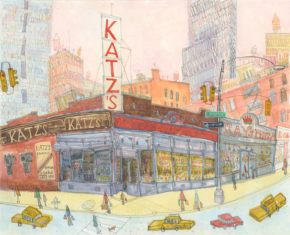 Katz's Delicatessen, New York      watercolour & pencil    46 x 37 cm