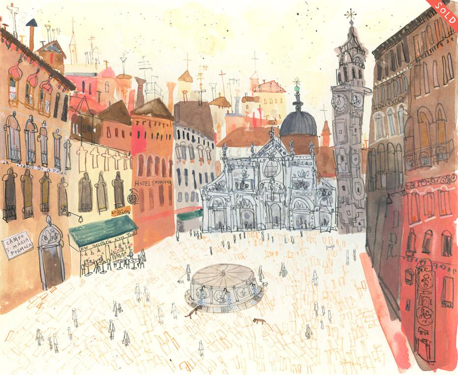 'Campo Santa Maria Formosa, Venice'     WATERCOLOUR & PENCIL    Image size 28 x 23 cm    S O L D