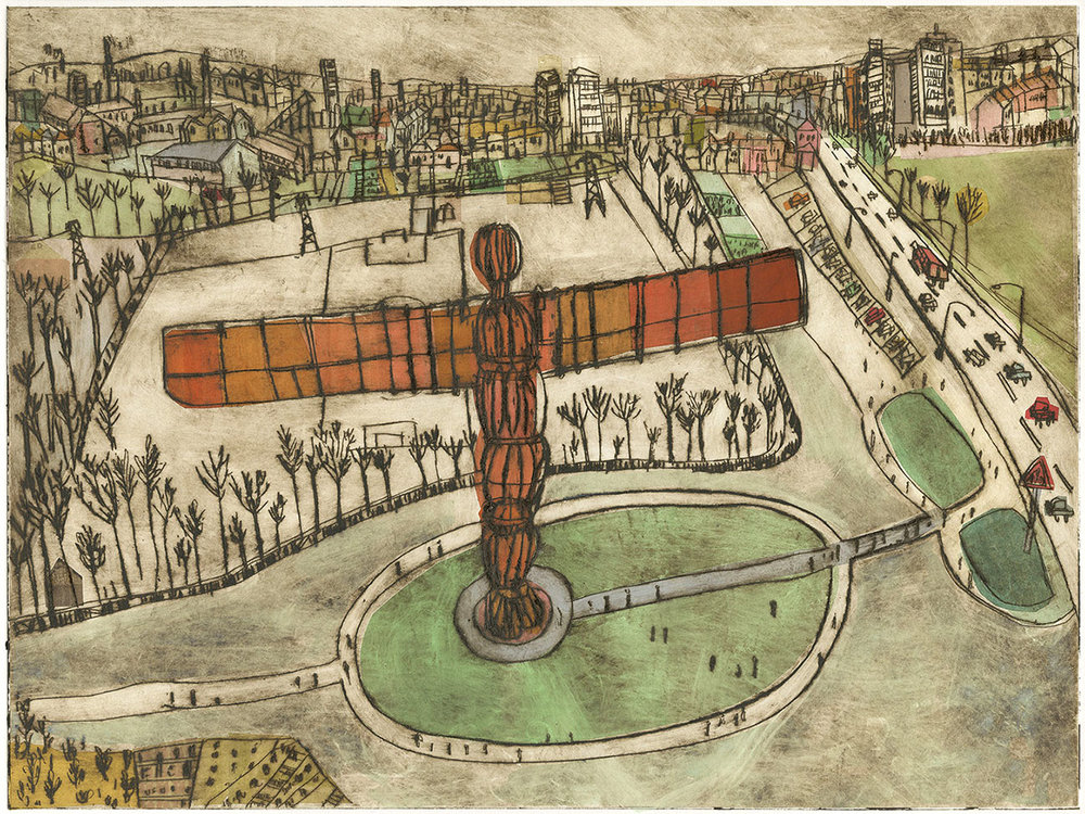 'The Angel of the North'  drypoint, chine-collé & watercolour