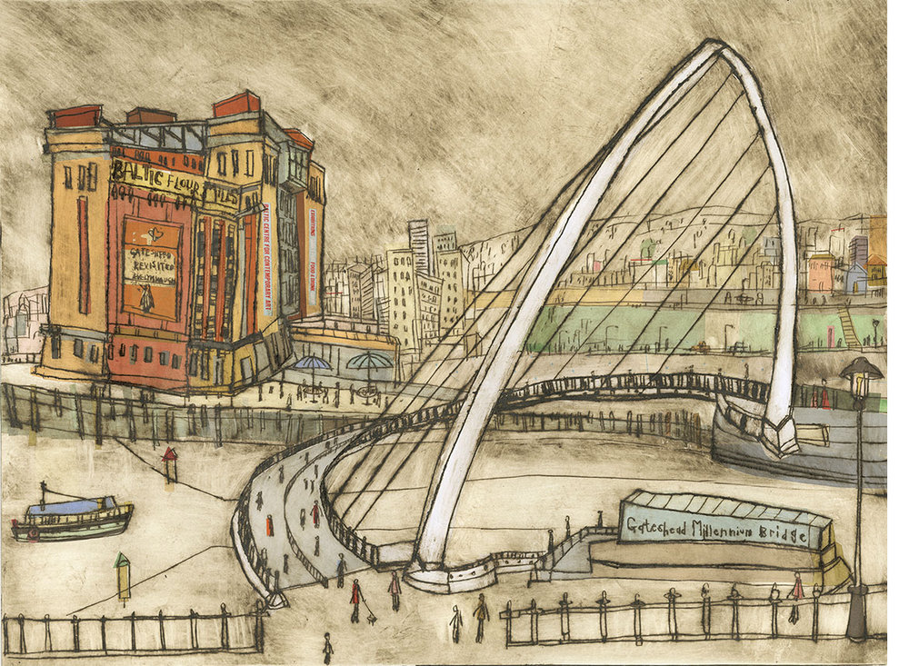 'Millennium Bridge and Baltic Mills, Newcastle upon Tyne'  Limited Edition Giclee print Image Size 40 x 30 cm Edition size 195     £140