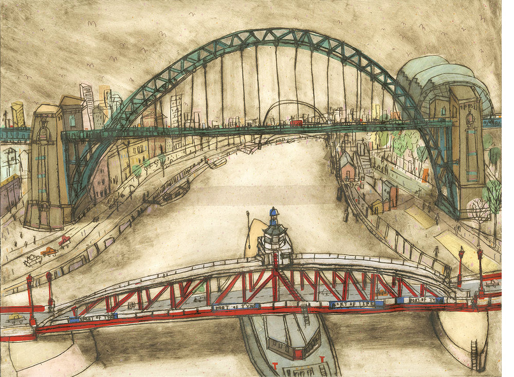 'Bridges over The Tyne Newcastle'  Limited Edition Giclee print Image Size 40 x 30 cm Edition size 195     £140