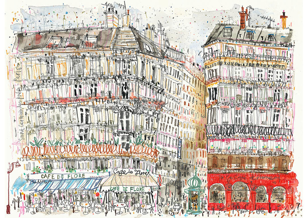 'Cafe De Flore Paris'  Limited Edition Giclee print Image size 41 x 30 cm Edition size 195  £140