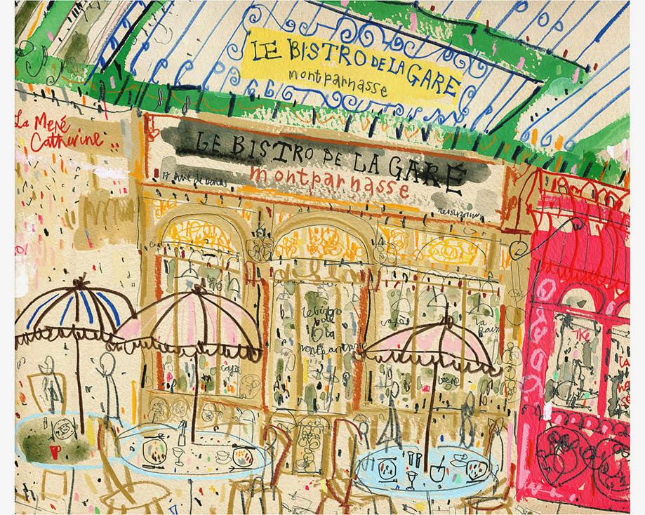 'Le Bistro De La Gare Paris'  Limited Edition Giclee print Image size 38 x 32 cm Edition size 195 £145