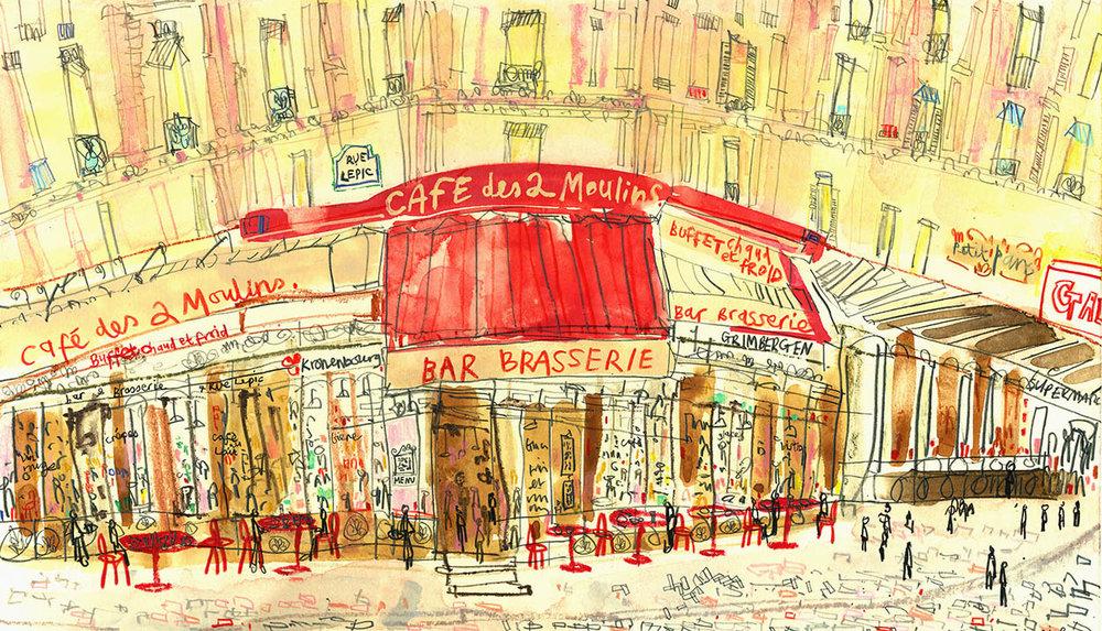 'The Amelie Cafe Paris'  Giclee print 46 x 26.5 cm Edition size 195 £145