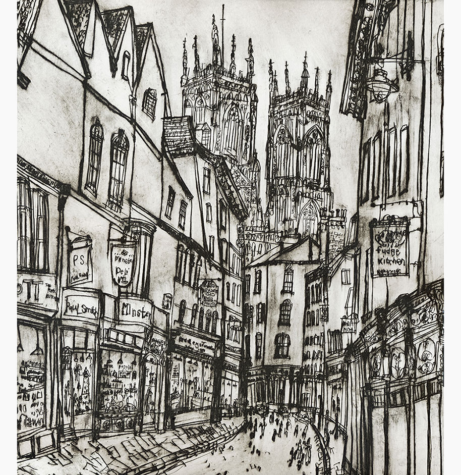 York Minster from Petergate  Giclee print Image size 45 x 50 cm Edition size 195 £185