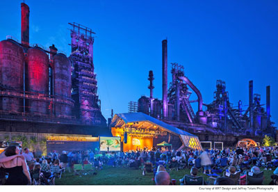 LEVITT PAVILLION STEELSTACKS IN BETHLEHEM, PENNSYLVANIA is one of six performance spaces sponsored by the Levitt Foundation offering 50 free concerts annually to urban audiences.