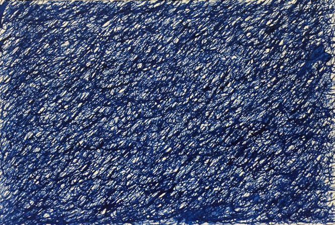 """Blue."" 2016. Blue ink and crow quill pen on 4"" x 6"" postcard paper. Private collection.  The word ""blue"" written repeatedly for the duration of Derek Jarman's 1993 film, ""Blue."" Created specifically for Visual AIDS' 19th Annual Postcards from the Edge benefit, January 13-15 at Metro Pictures in New York City."