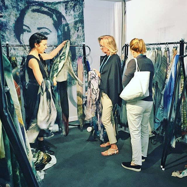 Last day for the #NY_NOW show. Take a minute to swing by our booth 8177 and say hi!! #scarves #fashion #NewYork