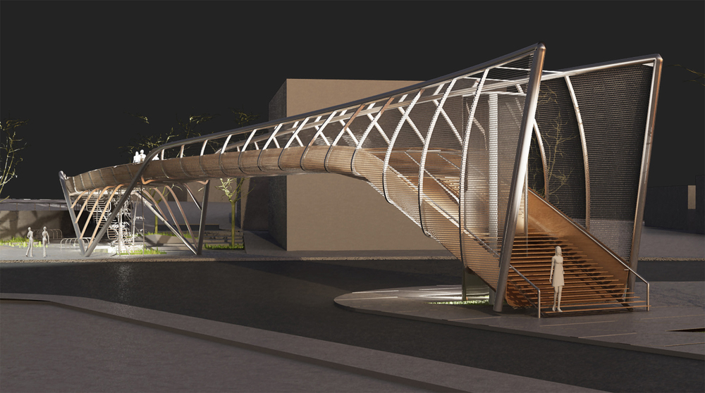 "FOOTBRIDGE U PROJECT: 2nd AWARD IN THE EUROPEAN ARCHITECTURAL COMPETITION ""FOOTBRIDGE IN TASOS PAPADOPOULOS AVENUE"""