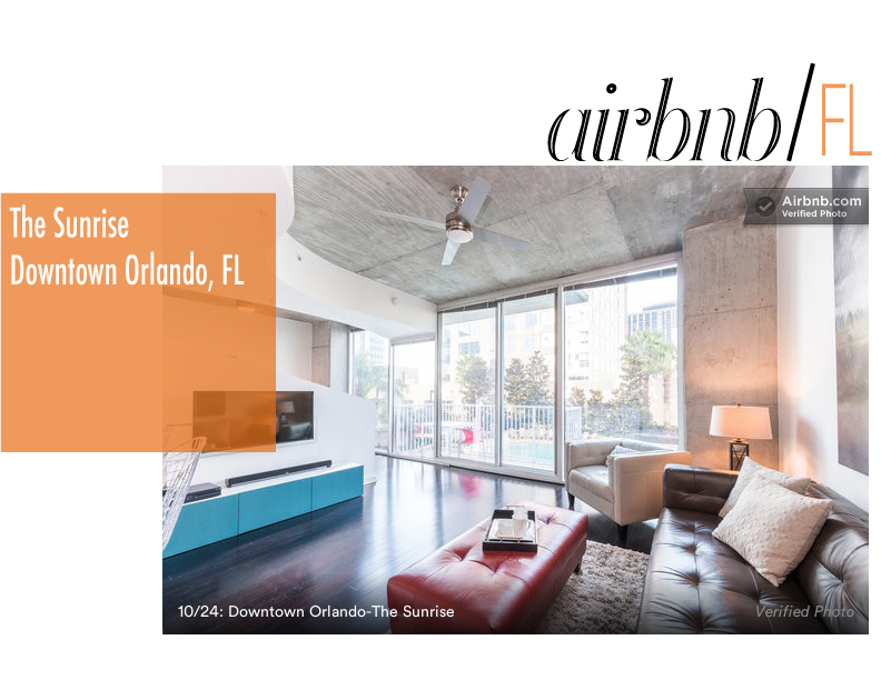 The Low-Down   / $125.00 per night - 1 bed 1 bedroom - downtown Orlando high-rise condominium - portion of the revenue of your stay  will be donated to the charity of choice from a list that is provided.     https://www.airbnb.com/rooms/2089023?s=gns5