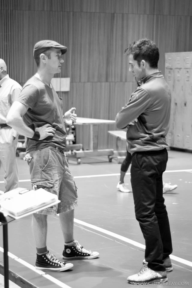 Writer Jeff Whitty and director Andy Blankenbuehler at rehearsal.