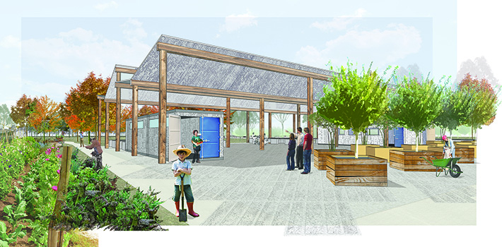 New facilities have been proposed including a Community Garden, Market Site, Research Garden, Nursery, Industrial Kitchen, Kitchen Garden, Retail Shops and other facilities that will house the multiple services that can operate throughout the site.