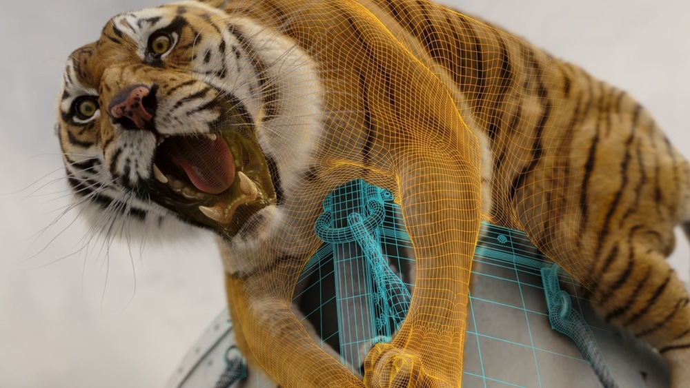 Richard Parker in wireframe and final form.
