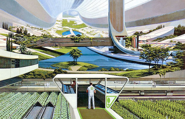 An older work by designer Syd Mead that echoes his later actual work on the film Elysium.