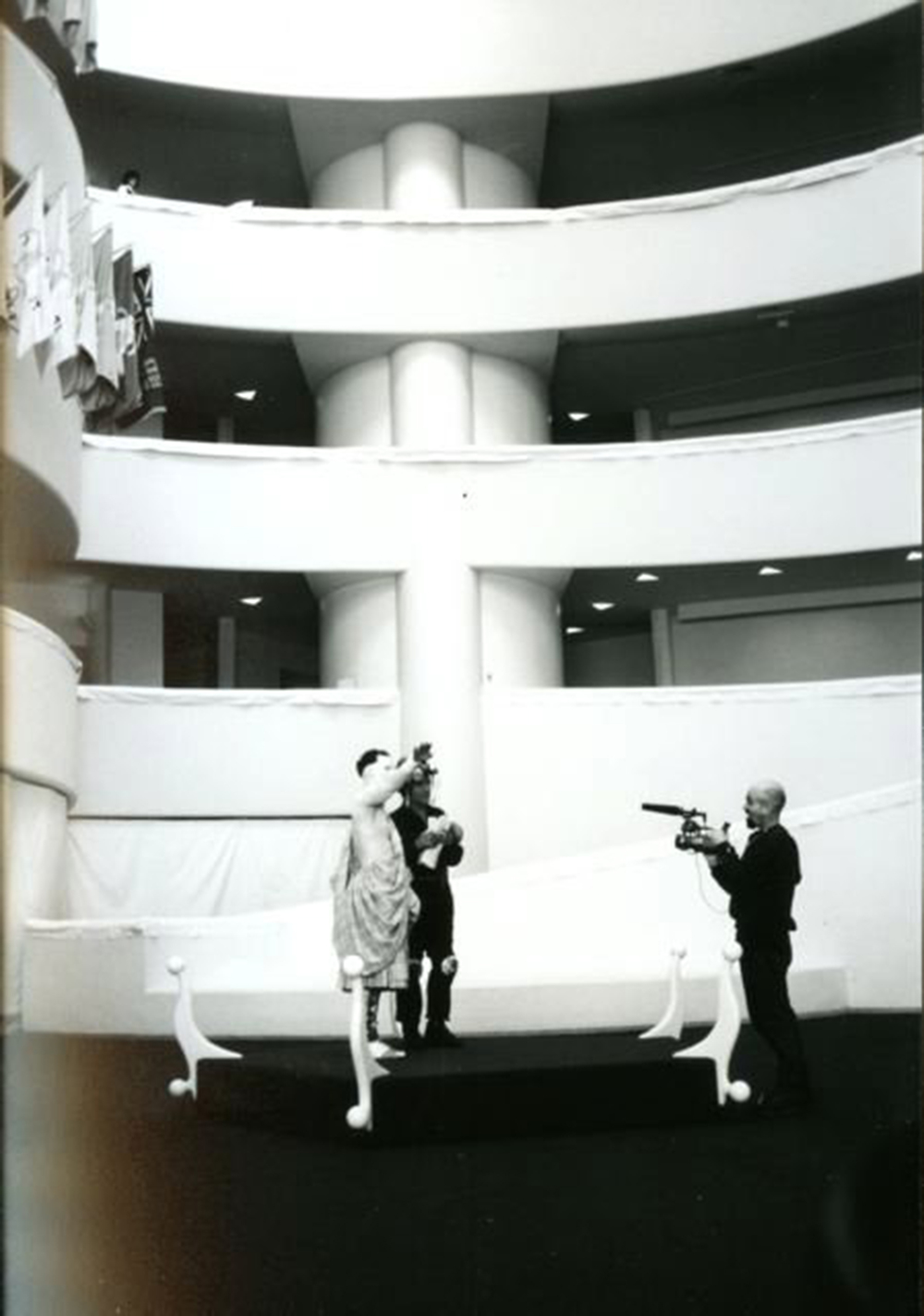 Me shooting video footage of Matthew Barney and Richard Serra in the Guggenheim Museum in NYC during the live action shoot for Cremaster 3.