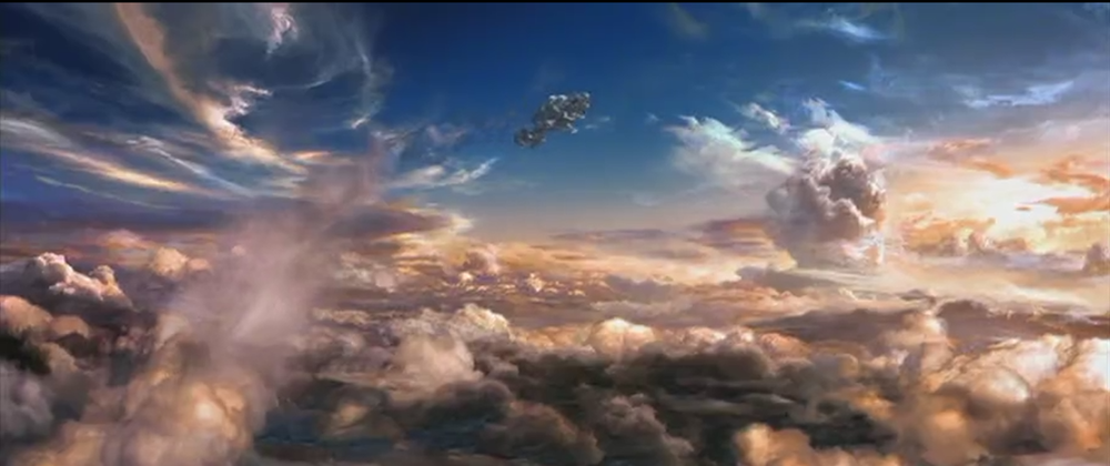 "Matrix: Revolutions. We called this the ""Free Willy"" shot from the film. I comped this shot of a 2D matte painting with a 3D ship and some clouds."