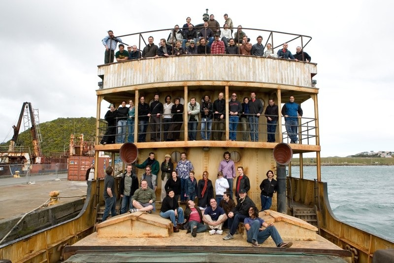 The compositing crew from King Kong on the real life Venture from the film. In the harbor in Wellington, New Zealand.