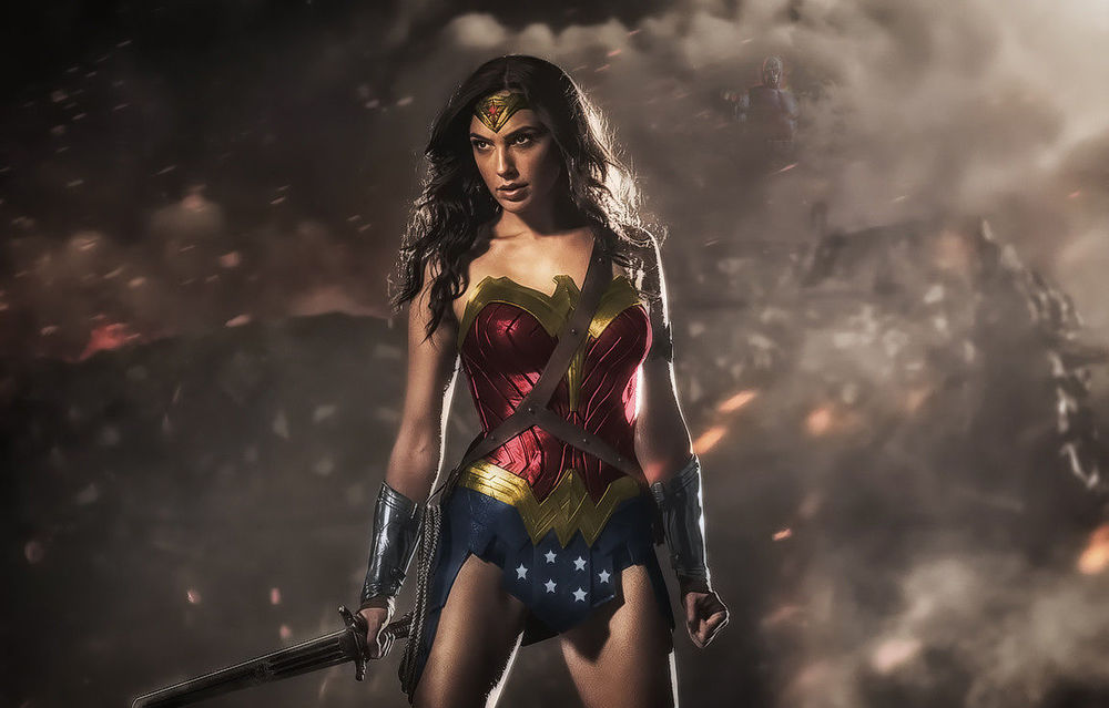 An artist rendering of what Gal Godot's Wonder Woman costume could have looked like if DC didn't suffer from chromaphobia.